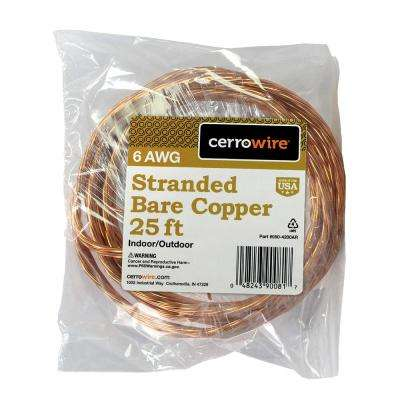 25 ft. 6/1 Stranded Bare Copper Grounding Wire