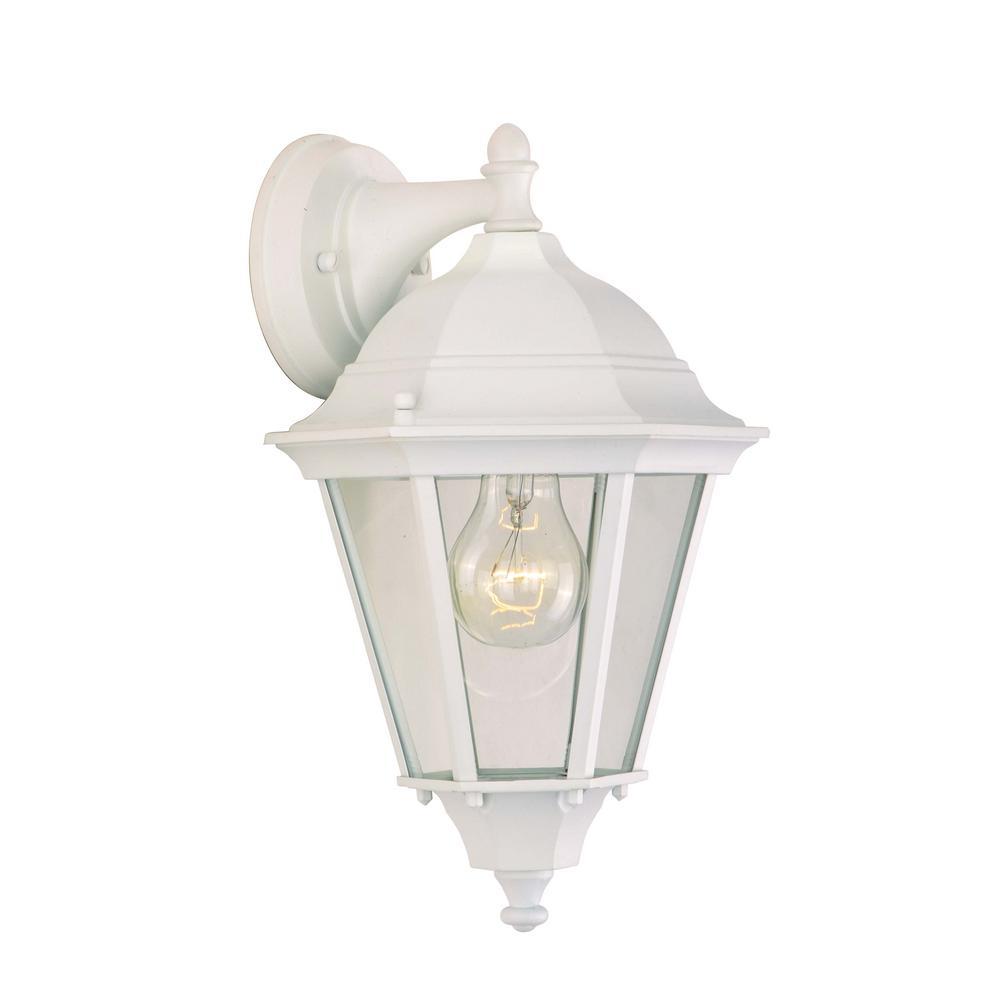 Westlake 8 in. W 1-Light White Outdoor Wall Lantern Sconce