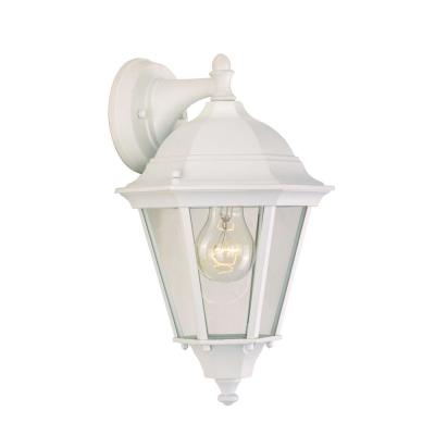 Westlake 8 in. W 1-Light White Outdoor Wall Lantern Sconce