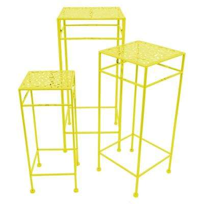 11 in. x 11 in. Square Plant Stands - Yellow in Yellow (Set of 3)