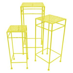 THREE HANDS 11 inch x 11 inch Square Plant Stands - Yellow in Yellow (Set of 3) from Plant Accessories