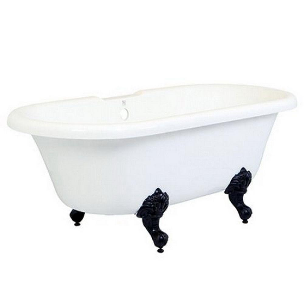 5.6 ft. Acrylic Oil Rubbed Bronze Claw Foot Double Ended Tub