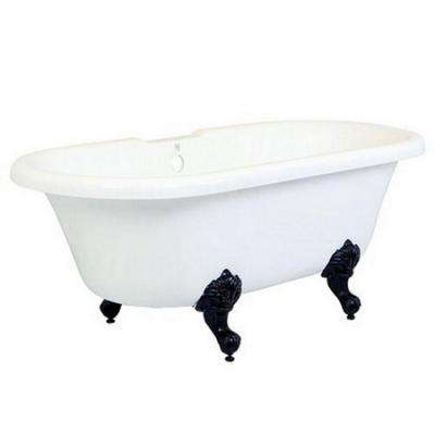 5.6 ft. Acrylic Oil Rubbed Bronze Claw Foot Double Ended Tub in White