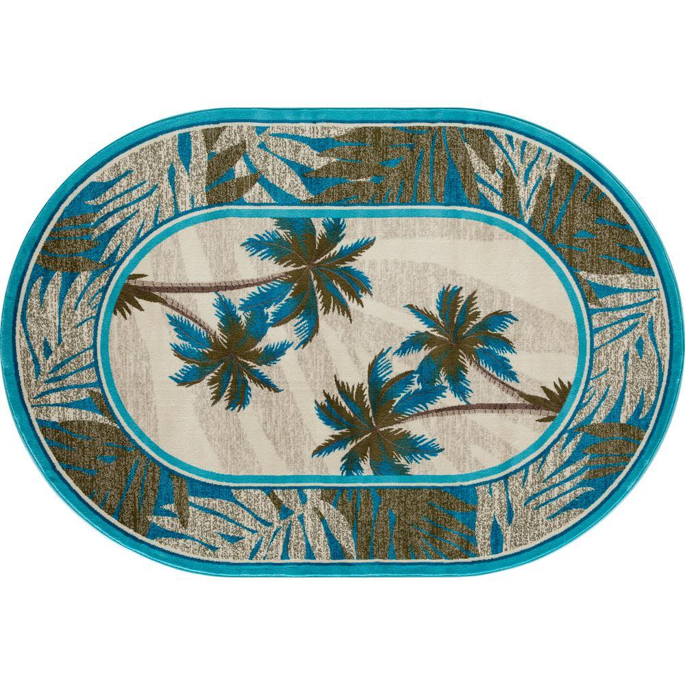 Art Carpet Palm Coast Frond Aqua 8 ft. x 11 ft. Oval Area Rug