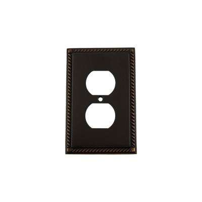 Rope Switch Plate with Outlet in Timeless Bronze