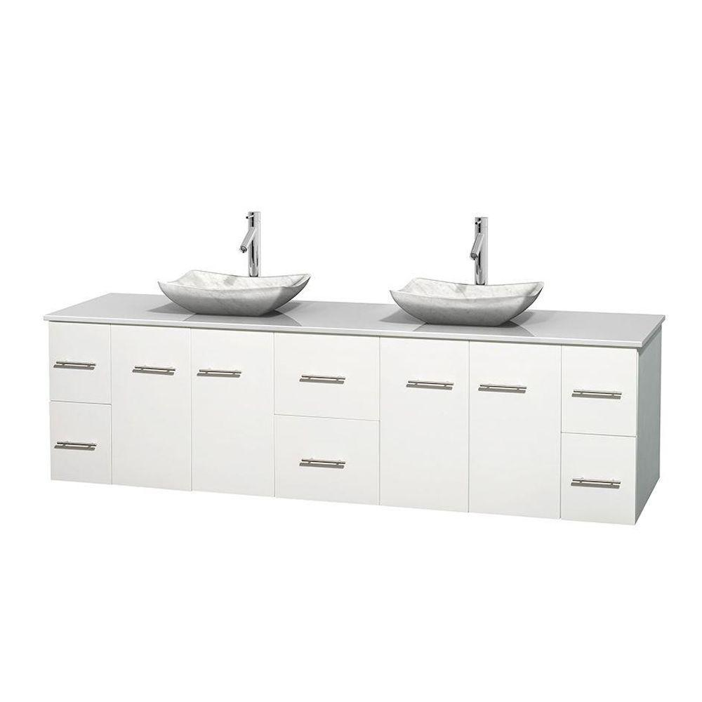 Wyndham Collection Centra 80 in. Double Vanity in White with Solid-Surface Vanity Top in White and Sinks