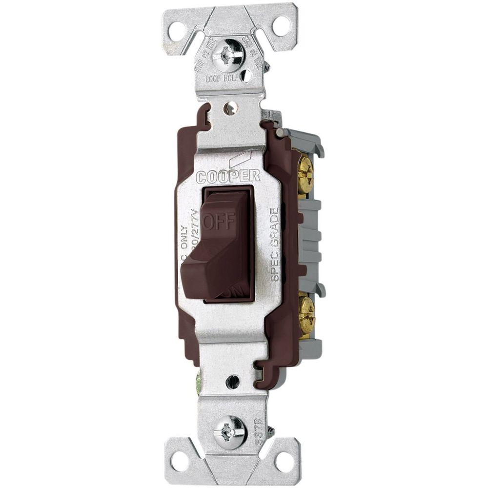 Eaton Commercial Grade 20 Amp Single Pole Toggle Switch with Side Wiring, Brown