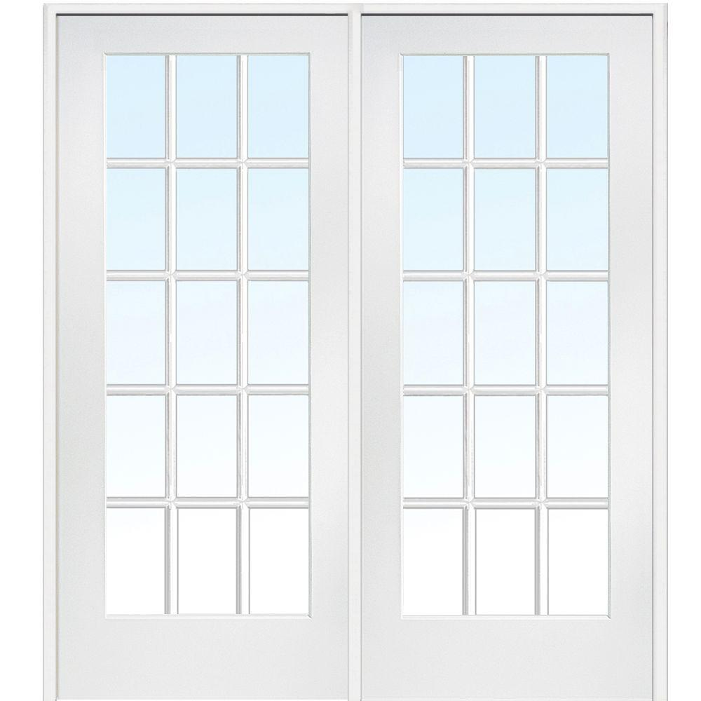 Attirant Right Hand Active Primed Composite Glass 15 Lite Clear True Divided Prehung Interior  French Door