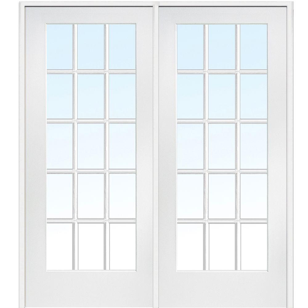 72 in. x 84 in. Primed Left-Hand 15 Lite True Divided MDF Prehung Interior French Door