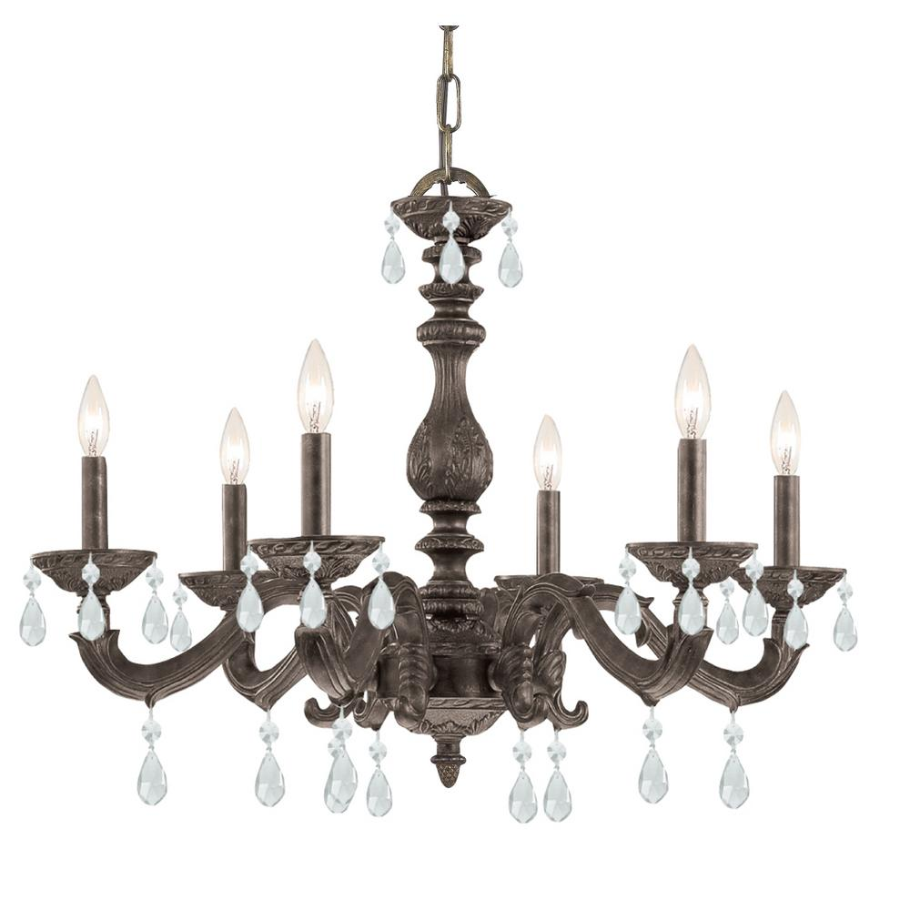 Venetian Bronze Chandelier: 6-Light Venetian Bronze Chandelier-5036-VB-CL-MWP