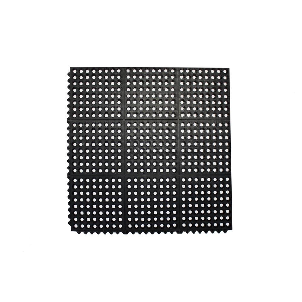 Durable Anti Fatigue Interlocking Commercial Floor Mat 36 In. X 36 In.  Rubber