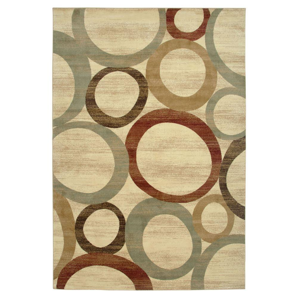 Lavish Home Sphere Vision Area Cream 5 ft. x 7 ft. 3 in. Area Rug-DISCONTINUED
