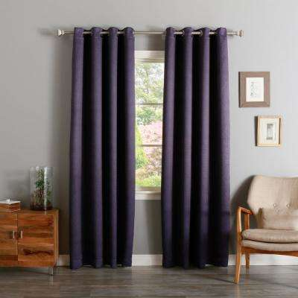 96 in. L Purple Linen Print Room Darkening Curtain Panel (2-Pack)
