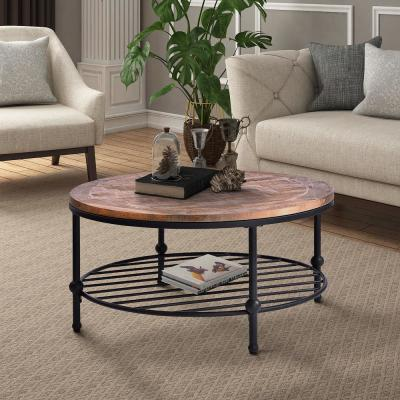 Brown Round Coffee Table with Storage Shelf