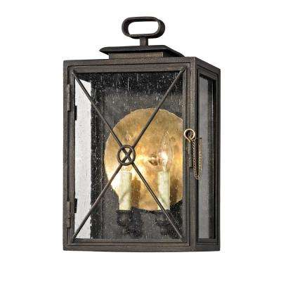 Randolph 2-Light Vintage Bronze 16.5 in. H Outdoor Wall Mount Sconce with Clear Seeded Glass