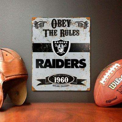 14.5 in. H x 11.5 in. D Heavy Duty Steel Oakland Raiders Embossed Metal Sign Wall Art