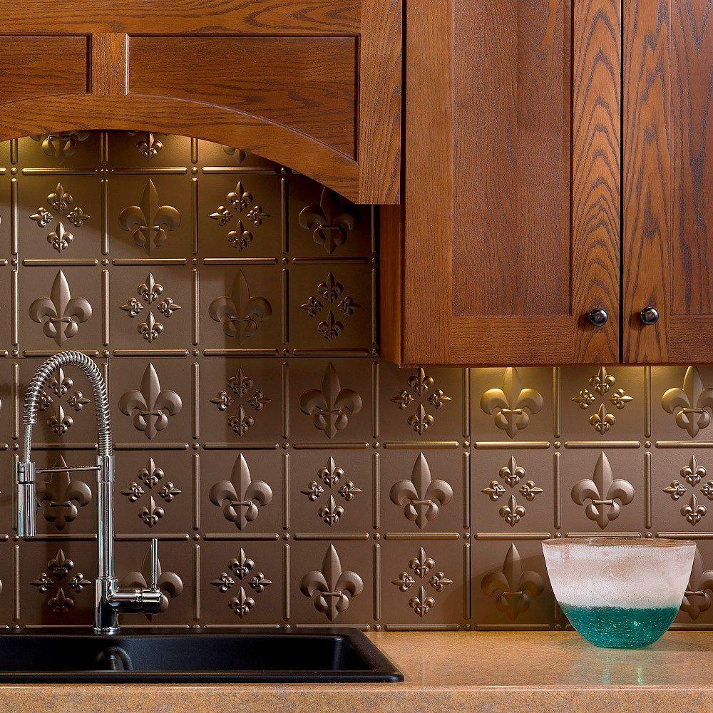 Fasade 24 in. x 18 in. Fleur de Lis PVC Decorative Tile ...