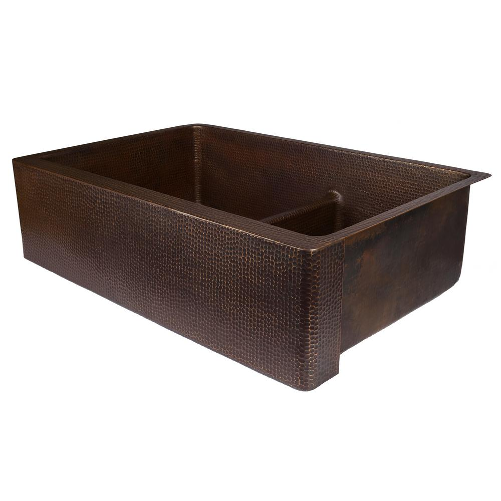 Dual Mount Copper 33 in. 60/40 Kitchen Apron Sink with Short