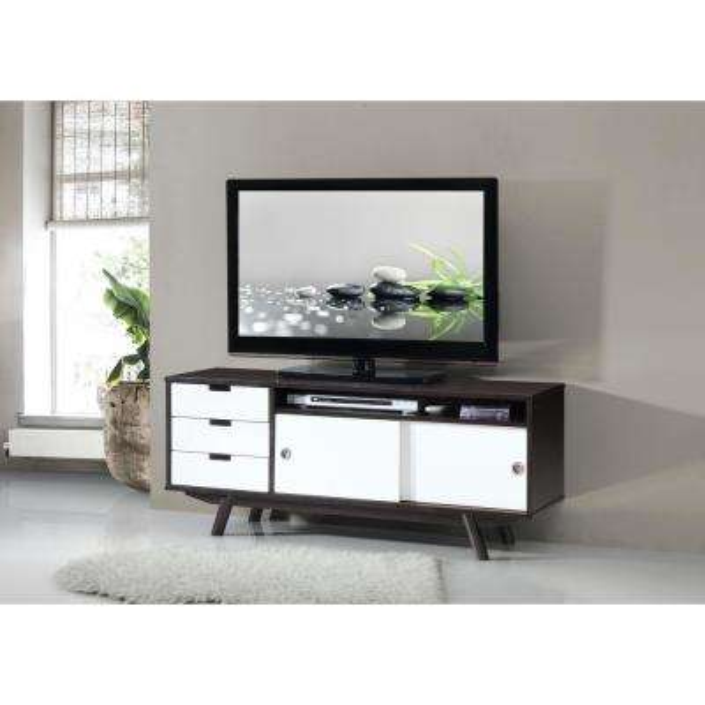 wenge modern wood veneer 55 in tv stand with sliding doors