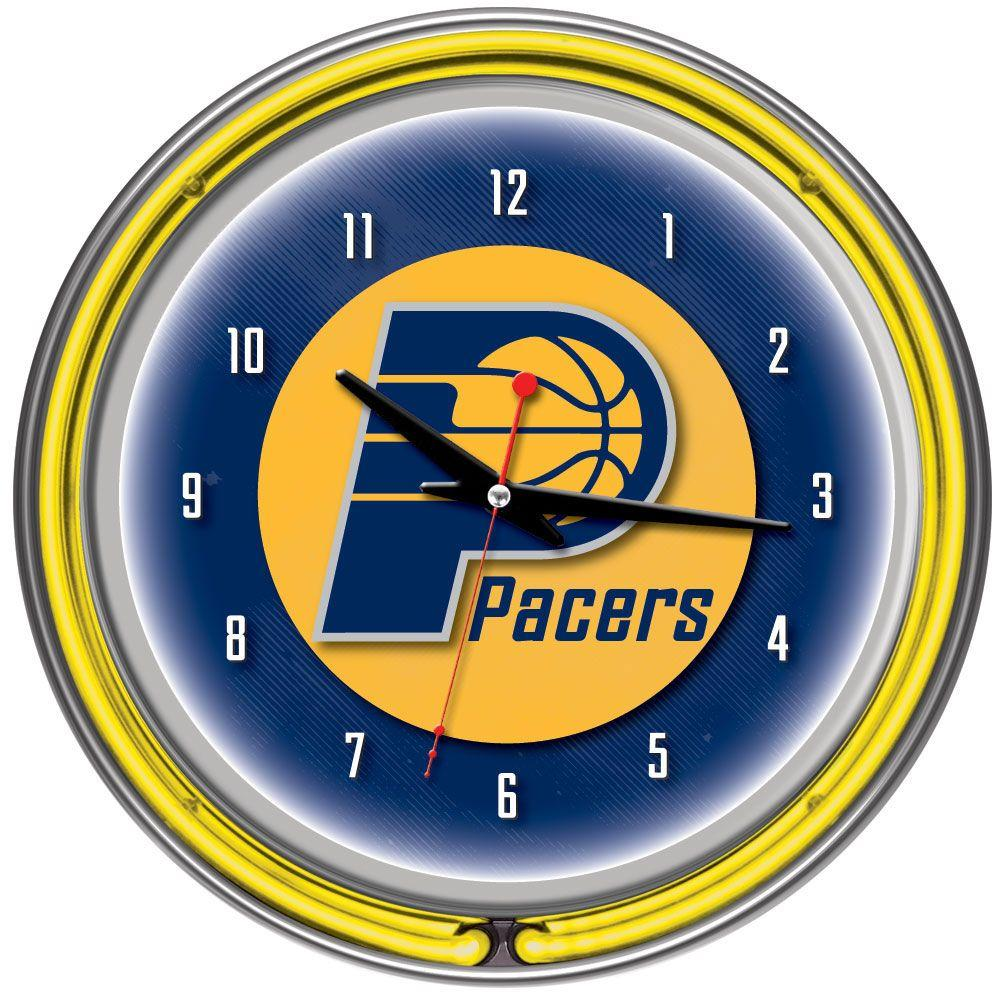 14 in. Indiana Pacers NBA Chrome Double Ring Neon Wall Clock
