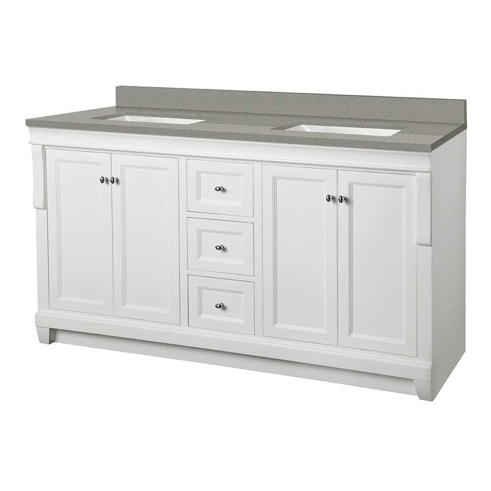 Foremost Naples 61 in. W x 22 in. D Vanity Cabinet in White with Engineered Quartz Vanity Top in Sterling Grey with White Basins