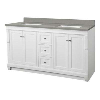 Naples 61 in. W x 22 in. D Vanity Cabinet in White with Engineered Quartz Vanity Top in Sterling Grey with White Basins