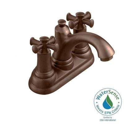 Portsmouth Single Hole 2-Handle Mid-Arc Bathroom Faucet in Oil Rubbed Bronze with Cross Handles and Speed Connect Drain