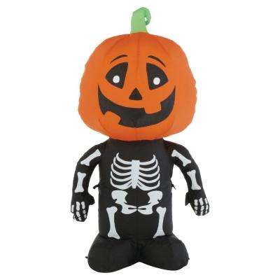 3.5 ft. Pre Lit LED Skeleton Pumpkin Airblown Inflatable