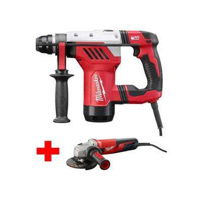13 Amp Corded 1-1/8 in. SDS-Plus Rotary Hammer with Free 5 in. Small Angle Grinder with Dial Speed