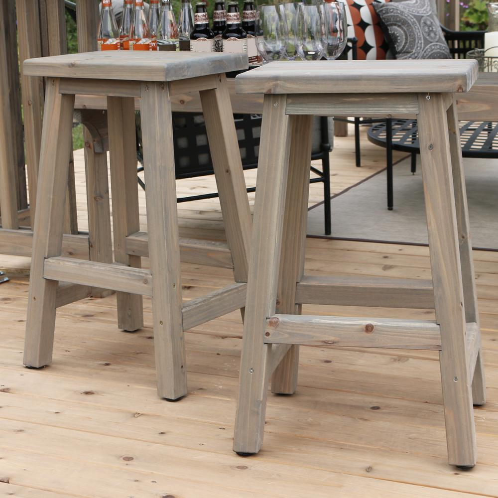 Yardistry Madison 29 In Saddle Wood Outdoor Bar Stool 2 Pack