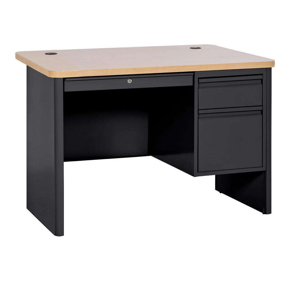 Sandusky 700 Series Single Pedestal Heavy Duty Teachers Desk in Black/Maple