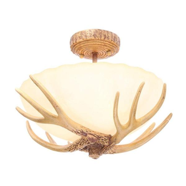 Hampton Bay Antler 16 5 In 3 Light Semi Flush Mount With Sunset Glass Shade 17199 The Home Depot