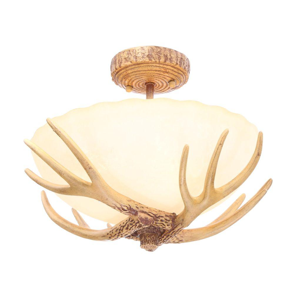 Captivating Hampton Bay Antler 16.5 In. 3 Light Semi Flushmount With Sunset Glass Shade