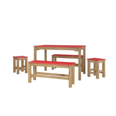 Stillwell 47.25 in. 5-Piece Red and Natural Wood Rectangle Dining Set