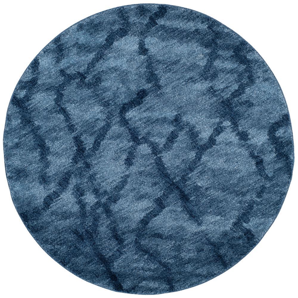 Safavieh Retro Blue Dark Blue 6 Ft X 6 Ft Round Area Rug