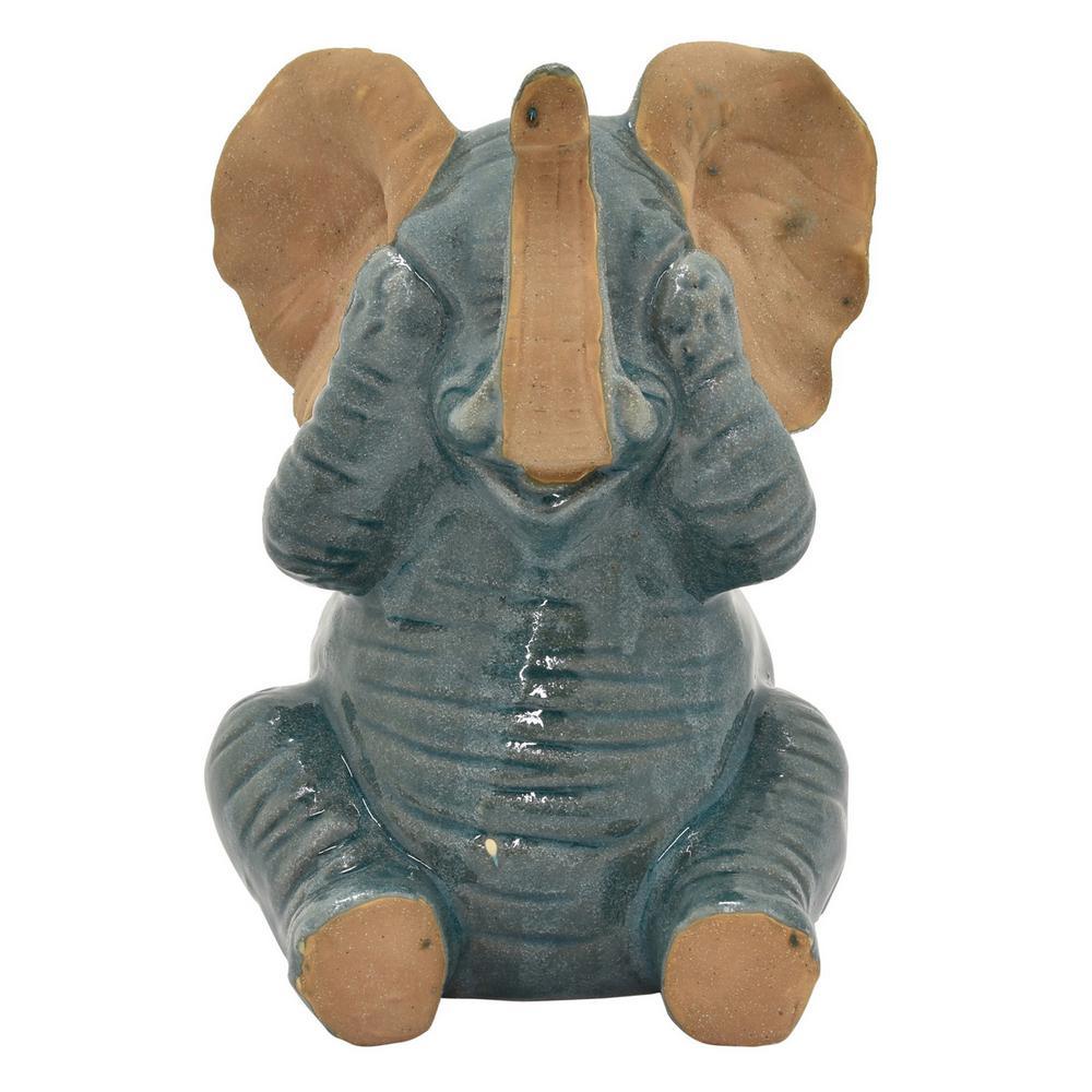 8 5 in  Porcelain-Ceramic Ceramic Elephant Finished in Green