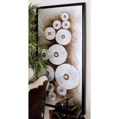 28 in. x 55 in. White Abstract Lily Pads on Brown and Beige Background Hand Painted Framed Canvas Wall Art