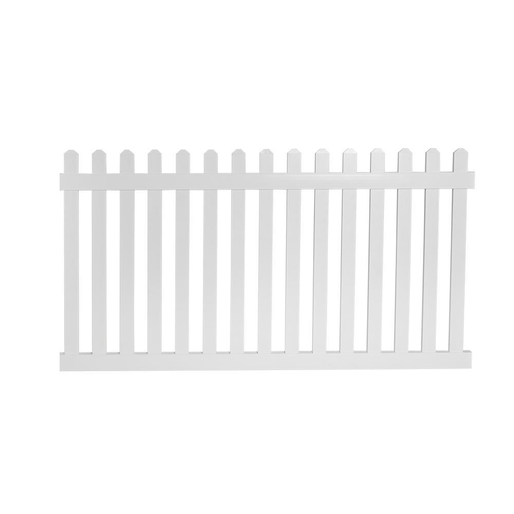 Chelsea 4 ft. H x 6 ft. W White Vinyl Picket Fence Panel