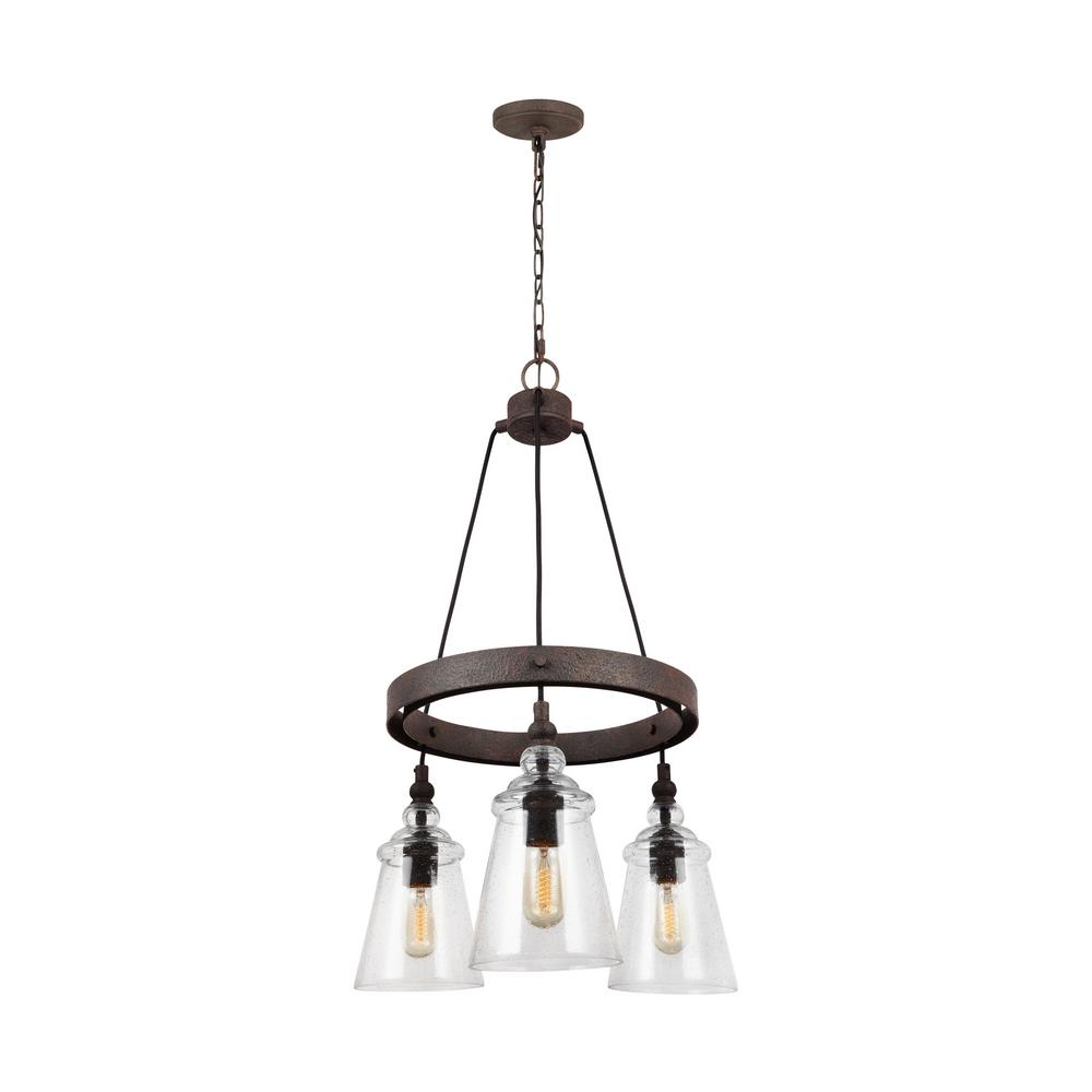 Loras 3-Light Dark Weathered Iron Chandelier
