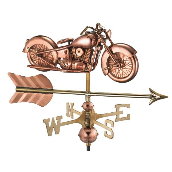 Motorcycle with Arrow Cottage Weathervane-Pure Copper with Roof Mount