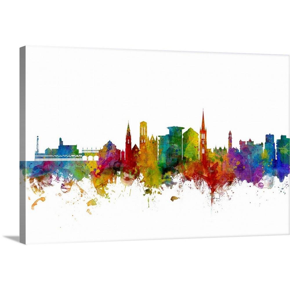 GreatBigCanvas ''Bournemouth England Skyline'' by Michael Tompsett Canvas Wall Art
