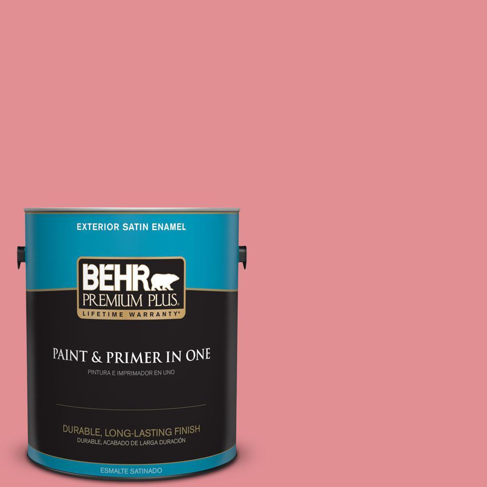 BEHR Premium Plus 1-gal. #140D-4 Fresh Pink Satin Enamel Exterior Paint