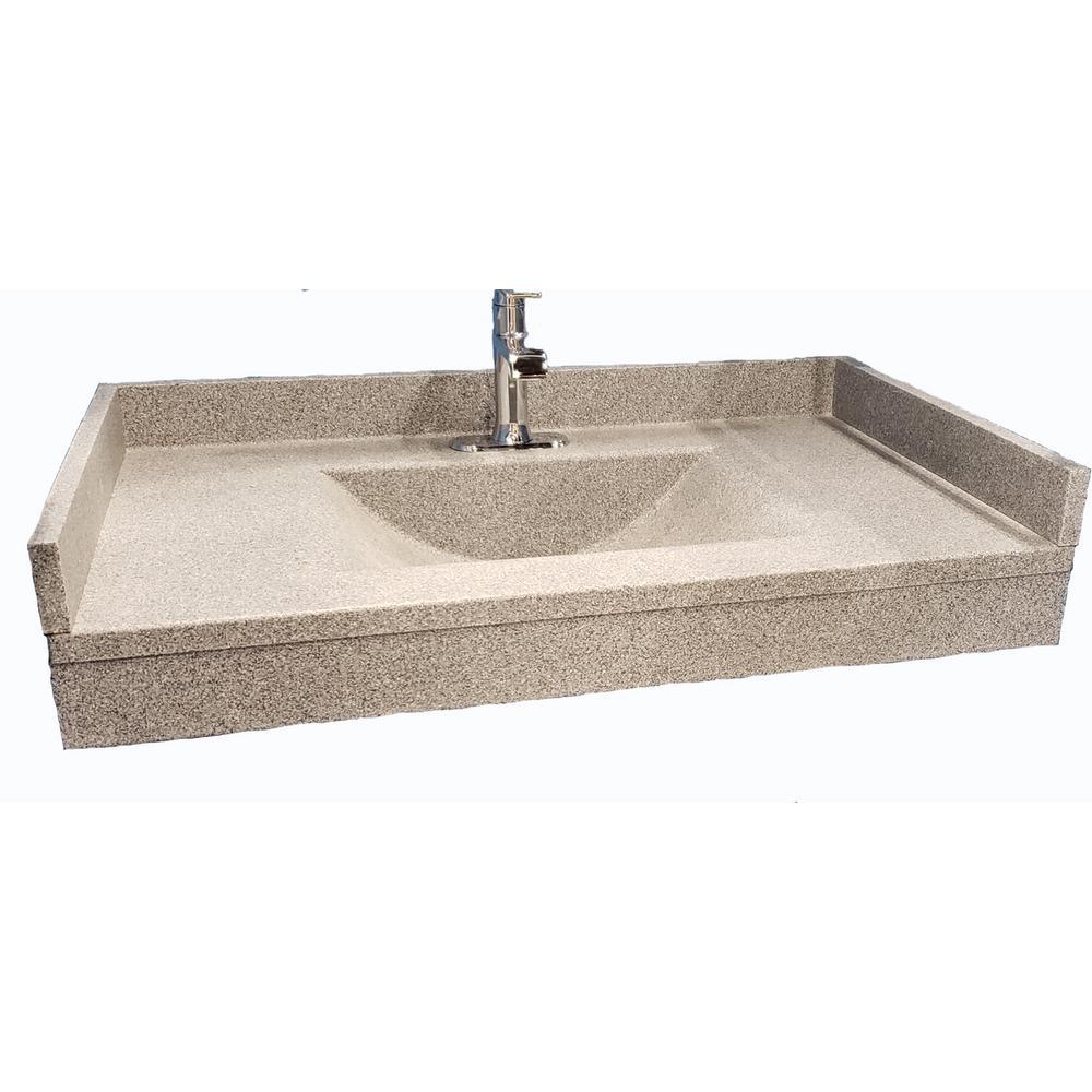 Freedomline 37 in. W x 22 in. D Solid Surface Pocket Vanity Top Kit with Sink in Gray Granite