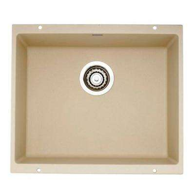 Precis Undermount Composite 21 in. Single Bowl Kitchen Sink in Biscotti