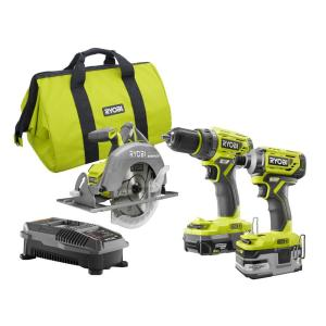 Deals on RYOBI 18-Volt ONE+ Li-Ion Cordless Brushless 3-Tool Combo Kit