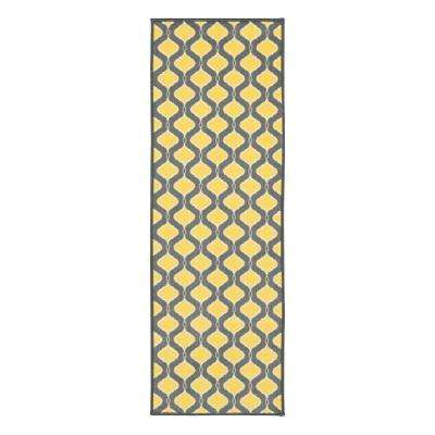 Studio Collection Trellis Design Grey 2 ft. x 5 ft. Non-Skid Runner Rug