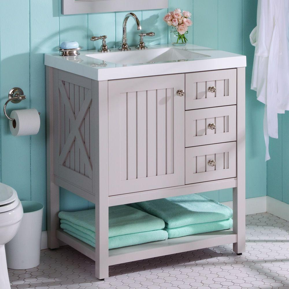 Martha Living Seal Harbor 30 In W X 22 D Bathroom Vanity Sharkey Gray With Top White Sl30p2com Sg The Home Depot
