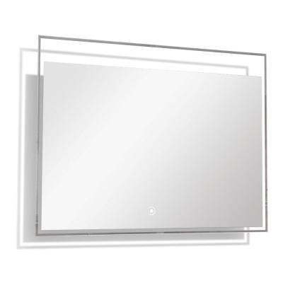 Taylor 35.43 in. W x 23.62 in. H Frameless Square LED Light Bathroom Vanity Mirror in Silver