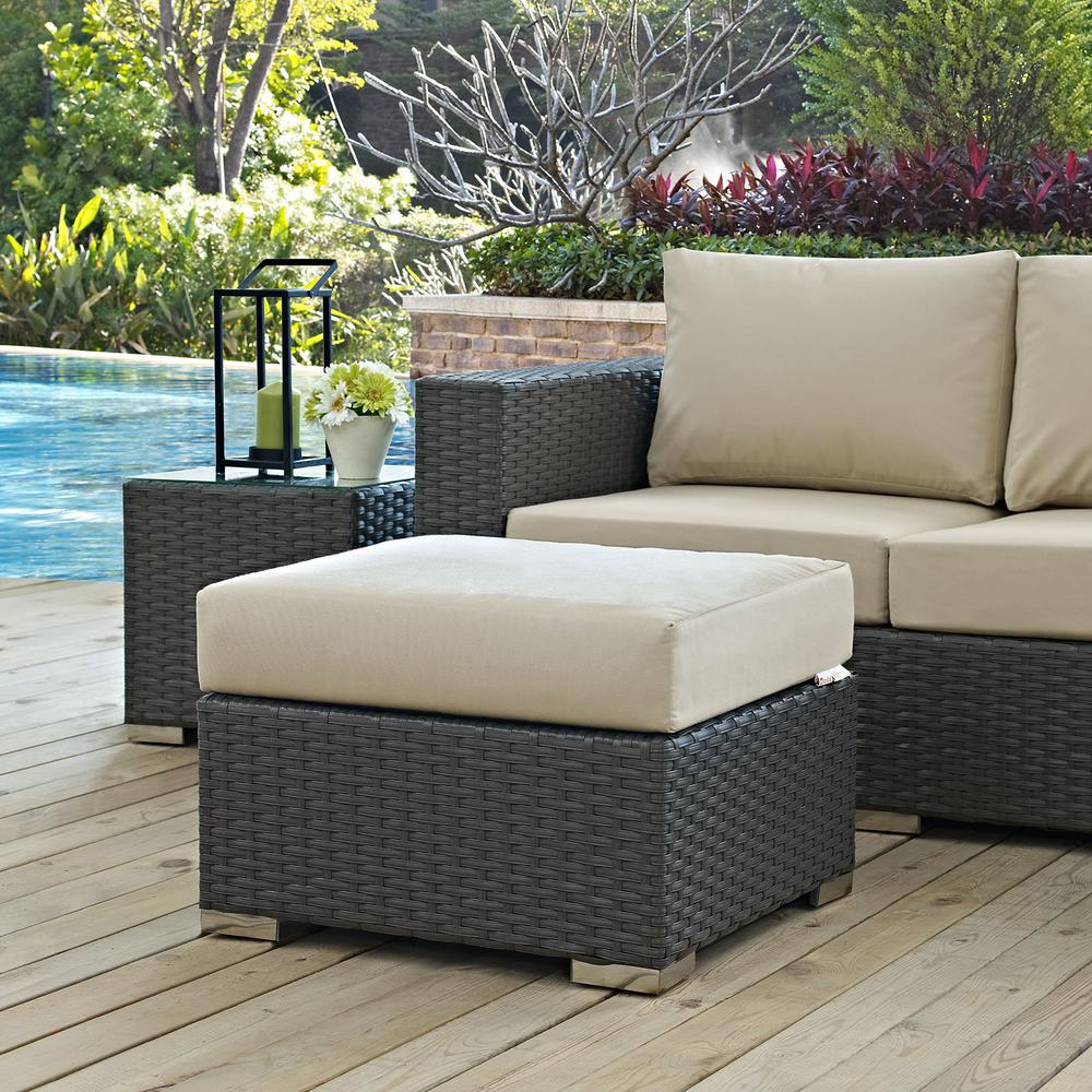 Sojourn Wicker Outdoor Patio Ottoman with Sunbrella Canvas Antique Beige Cushion