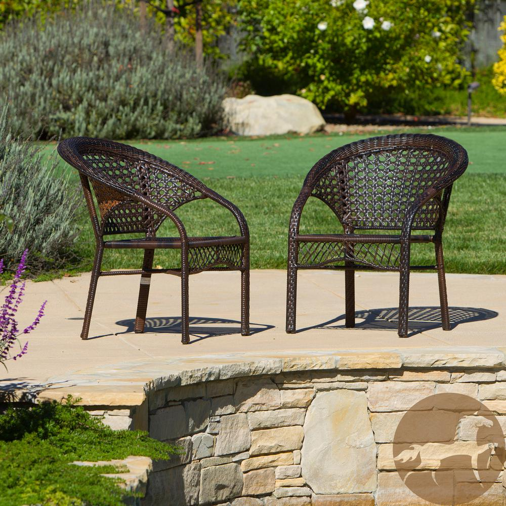 Noble House Ace Brown Stackable Wicker Outdoor Dining Chair (2-Pack) Add comfort to your outdoor experience with these 2 fan back chairs. These chairs add a sophisticated touch to your outdoor decor. With the added benefit of being able to store these chairs stacked, you cant go wrong with these chairs.